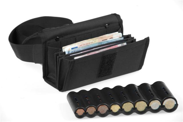 Money Pouch for Coins & Notes with Coin Dispenser for 8 coins