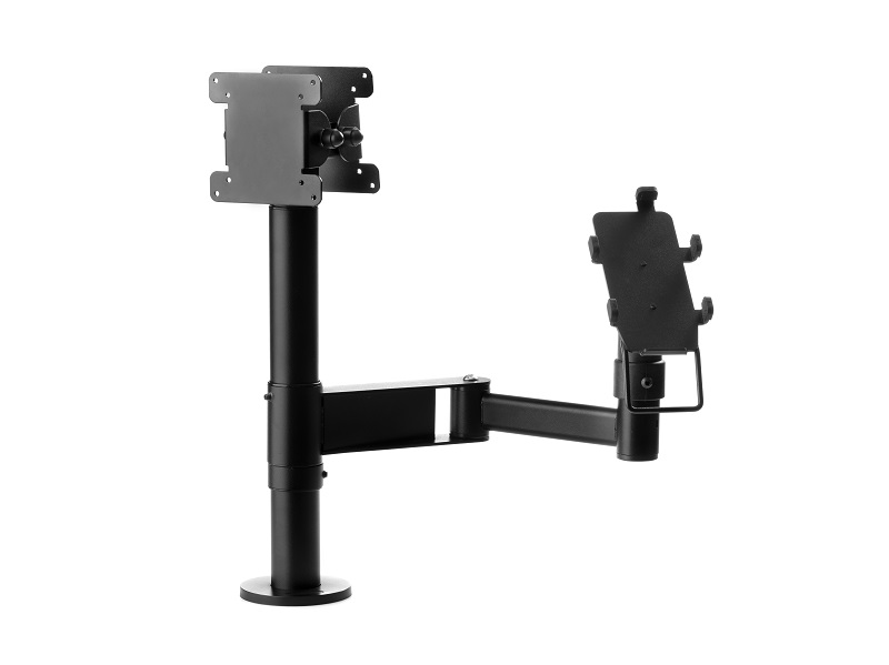 Ergonomic stand with an articulated arm and double VESA for screens or monitors.