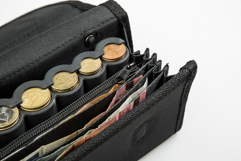 Money Pouch with Coin Dispenser
