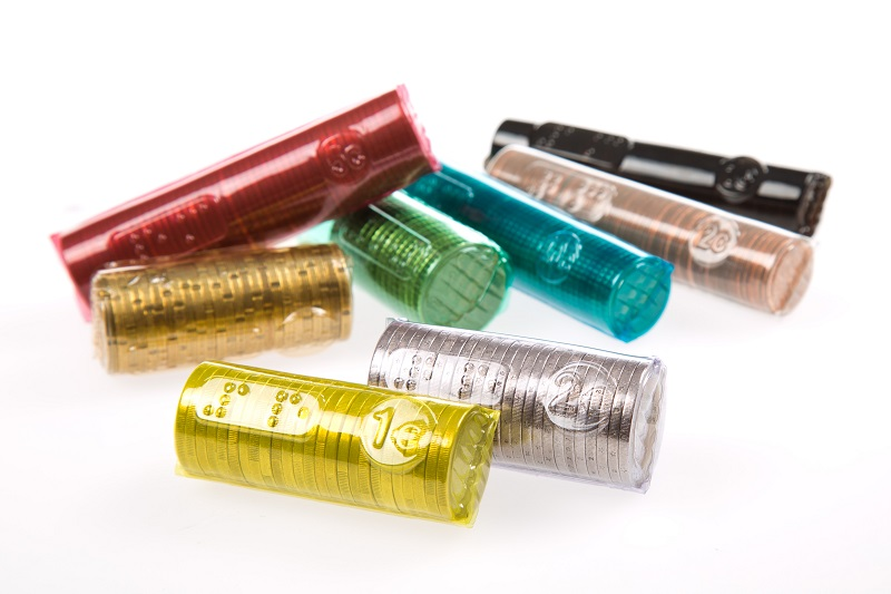 Re-usable plastic coin rolls for euro coins