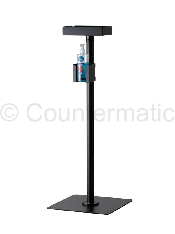 Black hydroalcoholic gel dispenser stand for offices and work environments.