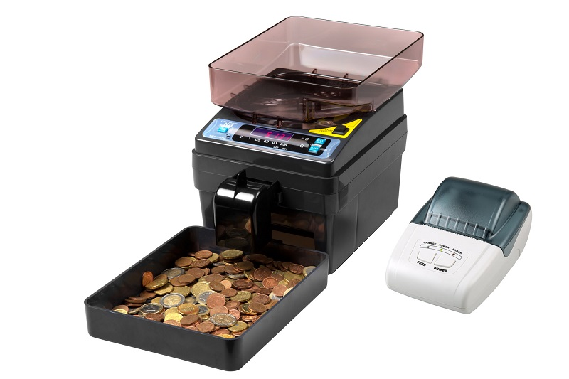 Manual Coin Counter with transport cover included. Euro coins version