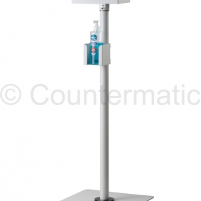 Hydroalcoholic gel dispenser stand for pharmaceutical environments.