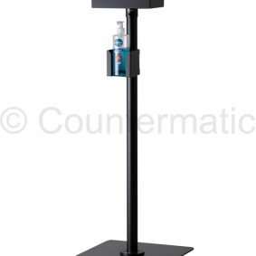 New floor stand  with double tray for gel dispenser and gloves to prevent COVID-19 for retailers and offices