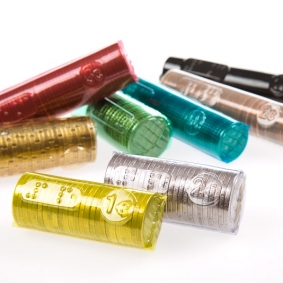 Batches of 100 Euro coin wrappers per type
